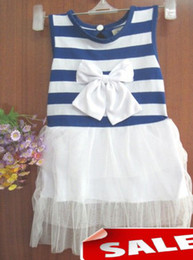 Wholesale Toddler Girls Chinese Dress - Fashion toddler baby girl stripes bowknot cotton dress tiered TUTU tutu summer dresses sleeveless children clothing