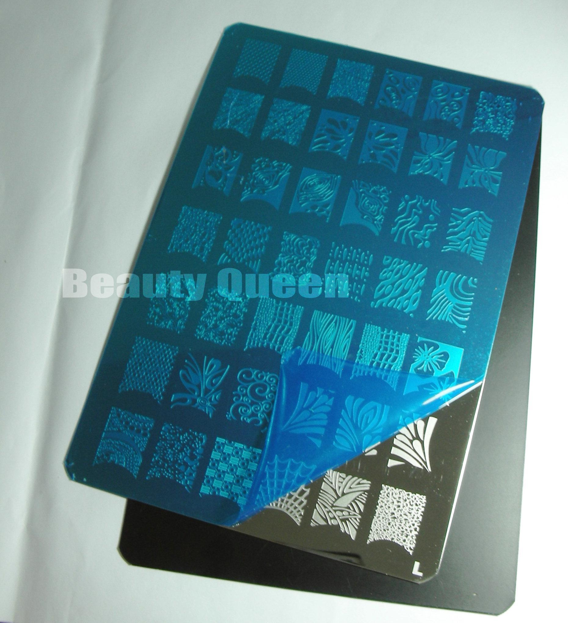 GRANDS DESIGNS * 9 Style XXL Nail Art Stamping Plate Stamp Stamp Image Plaques XL Stencil Imprimer Modèle Transfert Polonais Français Fleur Tatouage DIY # L-T