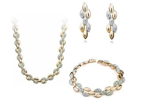 18K Rose Gold Plated Two Tone Wheat Ears Rhinestones Bracelet ... ca358f36a8d3