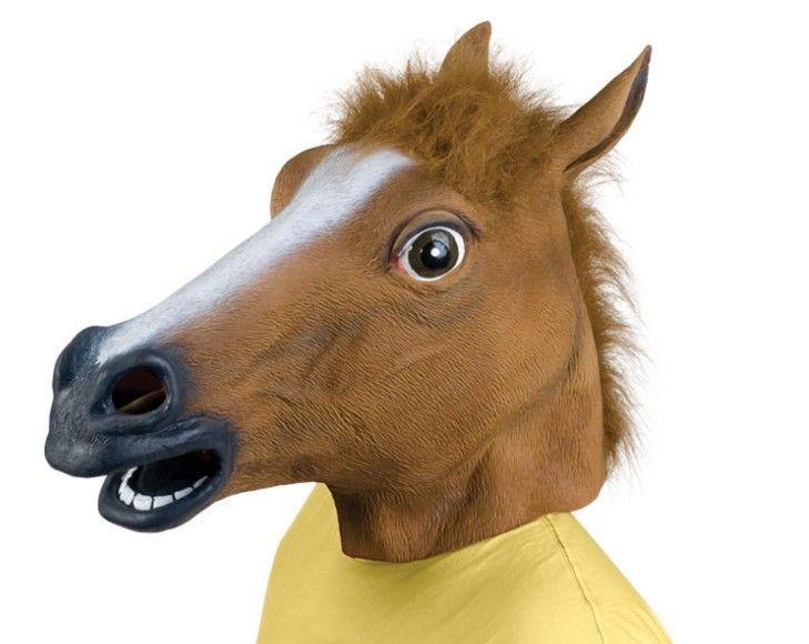 Paardenhoofd masker realistisch en griezelig halloween kostuum nieuwigheid latex rubber dier paard halloween mask /
