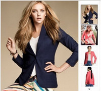 Wholesale Womens Long Blazers - Dropshipping Lady Womens Candy Colors One Button Suits Casual 3 4 Sleeve Blazer Jacket 6 color to choose Free Shipping