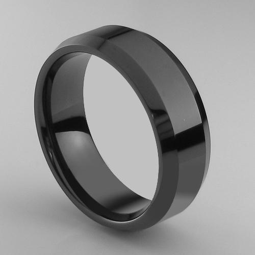 Mens Tungsten Carbide Ring High Polished Black Wedding Band Size 8