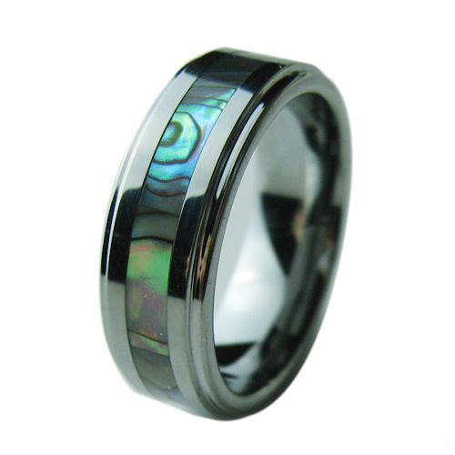 Tungsten Carbide Mens Ring Wedding Band Color Abalone Shell Inlay
