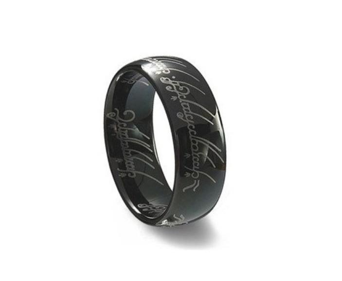 Black Tungsten Ring Lord Of The Rings Mens Wedding Band Ring