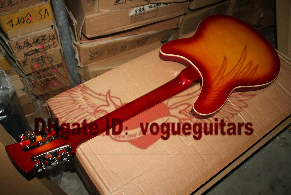 Custom Shop 360-12 String Linke Hand E-Gitarre Kirsche Burst FreeShiping OEM Gitarre Bemerkungen