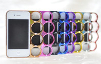 Wholesale Brass Knuckle Iphone - Knuckle Ring Brass Marmoter Four Finger Rings Back Case for iphone 4 4S Luxury Accessories 20pcs lot Singpore post Free Shipping