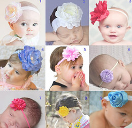 Wholesale Blended Hair Weave - baby flowr hair accessories hairbands headbands Baby Flower Hairbands,Girls Headband,Infant Knitting Hair Weave hairband mixing color 20p l
