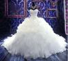 Luxury Royal Puffy White Pearl Catherdarl Train Pleated Wedding Dresses Bridal Gowns Organza