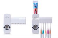 novo distribuidor automático de pasta de dentes venda por atacado-Casa branca Automático Auto Dispensador de Dentífrico Livre Escova Titular Novo transporte da gota