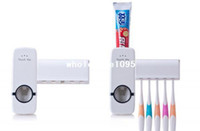 Wholesale New Automatic Toothpaste - White Household Automatic Auto Toothpaste Dispenser Free Brush Holder New drop shipping