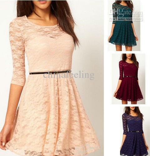Sexy Lace Dress Casual Dress Women'S Fashion Dress Belt Include ...