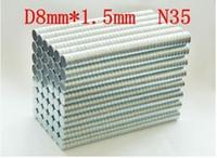 imán super potente n35 al por mayor-súper potente n35 NdFeB Industrial imán imanes permanentes de neodimio 8 * 1.5 mm