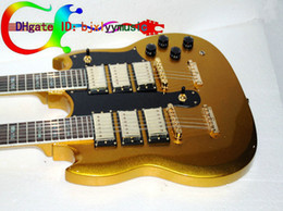 Wholesale Double Neck Sg - Custom shop Double neck guitars 6 strings 12 strings Electric Guitar in Goldtop SG 3 pickup Senior accessories Free Shipping