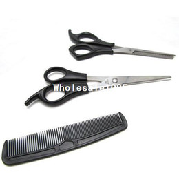 Discount barber hair thinner comb - 3 In 1 Hair Cutting Thinning Hairdressing Shears Scissors Comb tool Set Barber New wholesale