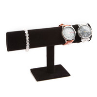 Black Velvet Jewelry Bracelet Collier Montre Display Stand Holder organisateur T-bar Gouttes Freeshipping
