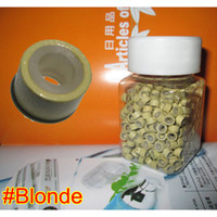 Wholesale Cheapest Prices For Beads - 500pcs 5.0*3.0*3.0mm #Blonde Micro Silicone Rings Links Beads For Hair Extensions Tool Kit,Cheapest price