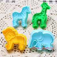 Wholesale Cookie Cutters Animal Set - 4pcs set Animal shaper pluger Theme Fondant Cake Cookie Plunger Cutter Sugarcraft Decorating Tools m