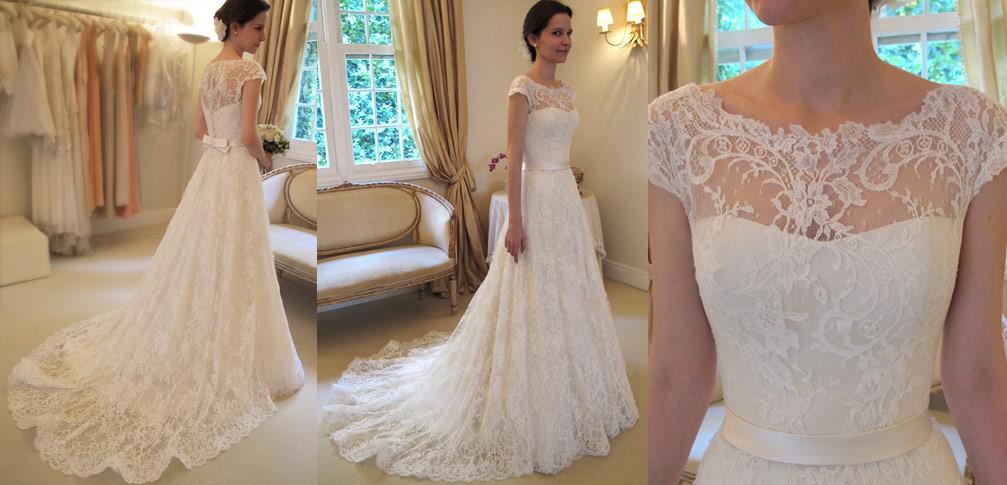 Sheer Neck Aline Wedding Dresses Covered Button Back Sweep Train - Covered Back Wedding Dress