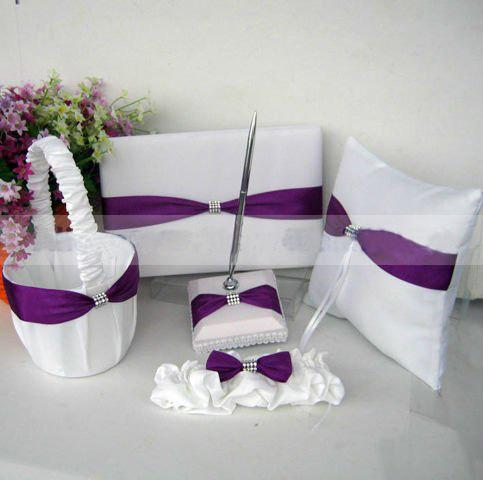 Free Shipping Purple Unique Wedding Ceremony Personalized Stuff Sash Guestbook Pen Set Ring Pillow Flower Basket Garter