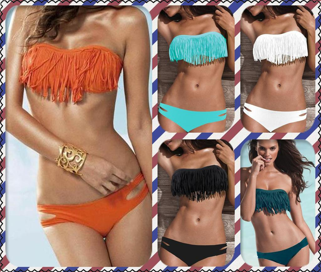 49d8dc76e4 Fashion Sexy Women Bikini Swimsuit Padded Boho Fringe Tassel Swimwear  Swimwear Push Up Swimwear Sexy Bikini Swimwear Online with  6.06 Piece on  ...