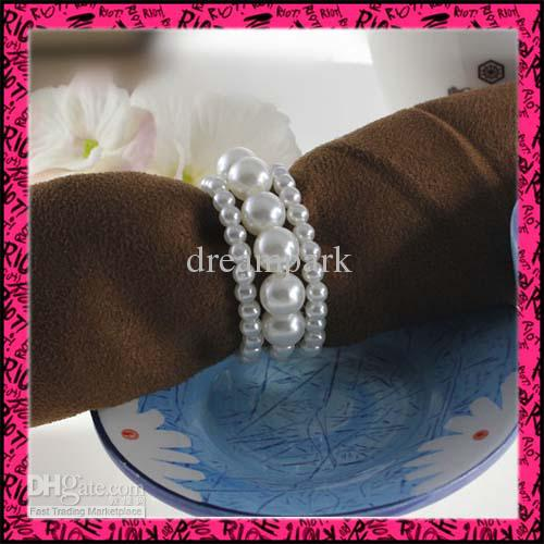 50pcslot free shipping pearls napkin rings wedding party wholesale - Wedding Napkin Rings