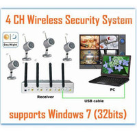 Wholesale Usb Wireless Cctv Camera System - USB QUAD WIRELESS 4 CCTV Cameras DVR 4CH Wireless IR Night Vision Outdoor Waterproof 4 Cameras DVR Receiver System with USB interface