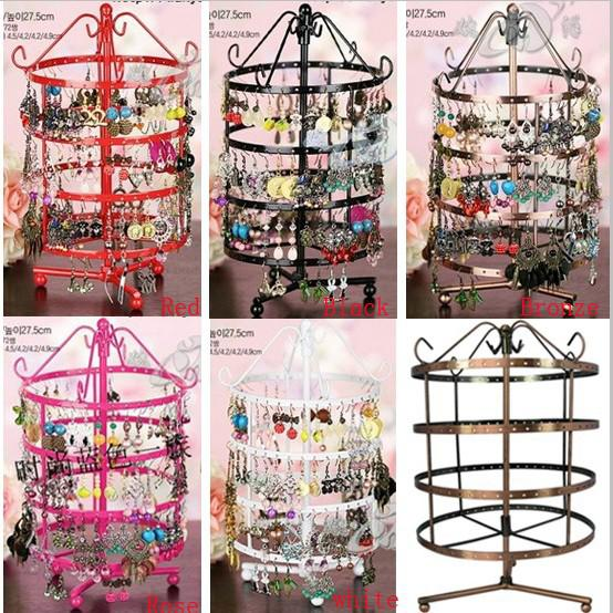 Multicolor hoge kwaliteit metalen oversized high-end ronde multi-stijl sieraden display stand roteerbare oorbellen houder 4 laag
