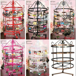 Wholesale Layer Metal Earrings - Multicolor high quality metal Oversized High-end Round Multi-style Jewelry Display Stand Rotatable Earrings Holder 4 Layer