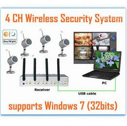 Wholesale Dhl 4ch Dvr - New USB WIRELESS 4CH CCTV Camera DVR Security Surveillanc System Kit Night Vision Camera Free Shipping Via EMS Or DHL