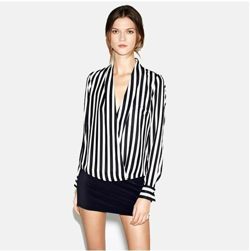 2017 Black And White Stripe Women Fashion Shirts Deep V Collar ...