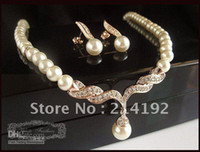 Wholesale Beautiful Pearl Jewellery Necklaces - Rose Gold Plated Beautiful Cream Pearl and Rhinestone Crystal Teardrop Wedding Jewellery Set Necklac