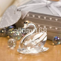 Wholesale Crystal Swan Decoration - Wedding Favors crystal swan gifts wedding decoration of crystal gift of crystal large size swan Decoration