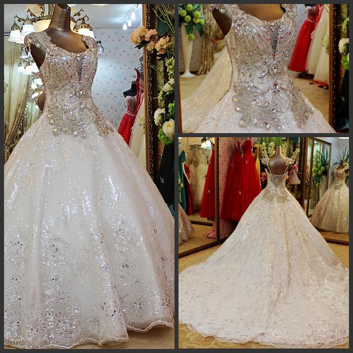 Wedding Ball Gowns With Straps: Real Picture Ball Gown Spaghetti Straps Court Train White
