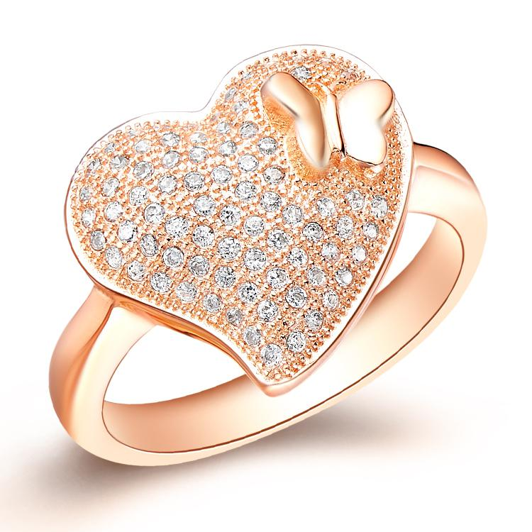 Discount Top Sale Exquisite Charming Heart Design Rose Gold Plated ...