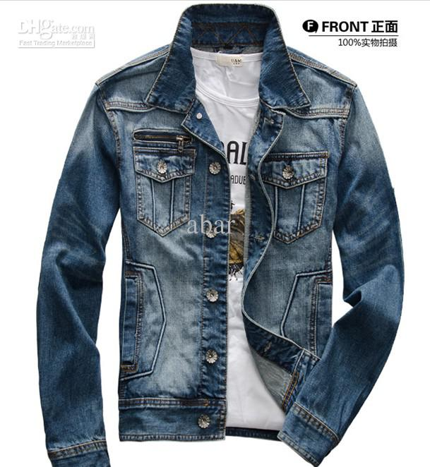 New mens jeans wear denim adult wash jeans jacket denim jean jacket coat size m xxl 2713 leather - Beste jeansjacke ...