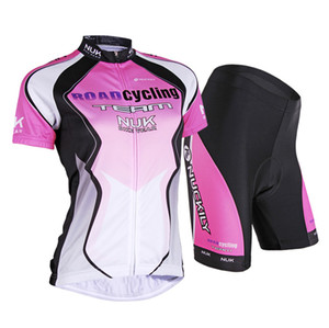 New Women Outdoor Road Cycling NUCKILY Pink to White Jersey + shorts Bicycle S - XXL
