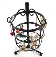 Wholesale Metal Hanger Stand - freeshipping 72 Holes Metal Earrings Jewelry Display Hanging Stand Holder Show Rack Hanger BLACK
