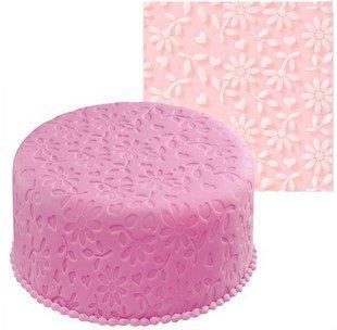 Cake Mold, Flower Embossed Fondant Imprint Mat, 100% Food-Grade Silicon, Through SGS