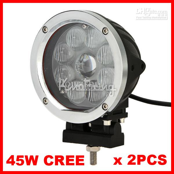 "2pcs 5.5"" inch 45W CREE 9-LED*(5W CREE) Work Light Off-Road SUV ATV 4WD 4x4 Jeep Boat Driving Spot Flood Beam 9-60V 3800lm Silver/Black Trim"