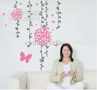 Wholesale Removable Butterflies And Branches Wall Stickers Butterflies  Flowers Wall Decals Living Room Decals Wall Art Stickers Sticker Wall  Quotes Sticker ...