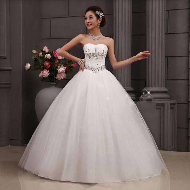 Hot Sale Wedding Dress Ladies Chiffon Sweep Train Strapless Women\'s ...