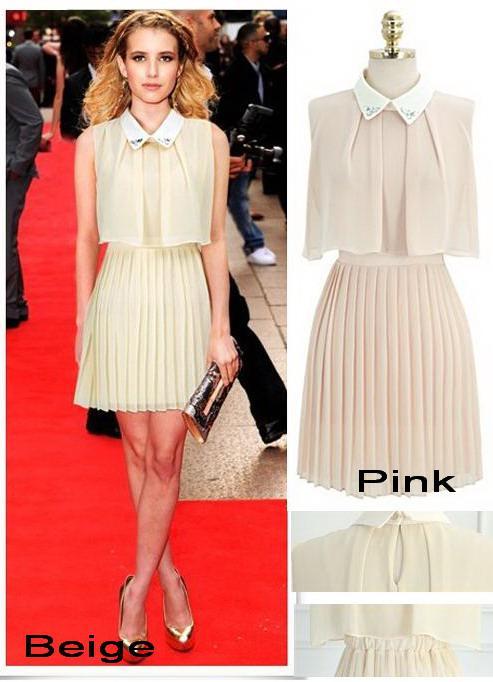 Großhandel Elegante Rosa Damen Sommer Kleider, Casual Beige Farbe ...