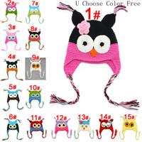 chapeaux tricotés pour enfants achat en gros de-Toddler Owl Crochet Tricot Woolly EarFlap Hat Bébé À La Main Au Crochet Chapeau Enfants À La Main Hibou Tricoté Chapeau 15 Couleur Pour Choisir 0-2T