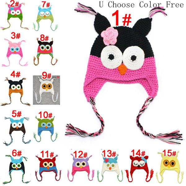 top popular Toddler Owl Crochet Knit Woolly EarFlap Hat Baby Handmade crochet Hat childrens handmade owl Knitted hat 15Color For Choose 0-2T 2019