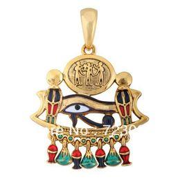 Wholesale Gold Cobra Pendant - free shipping 5pcs a lot Fashion alloy Gold cobra,eye of horus religious pendant jewelry