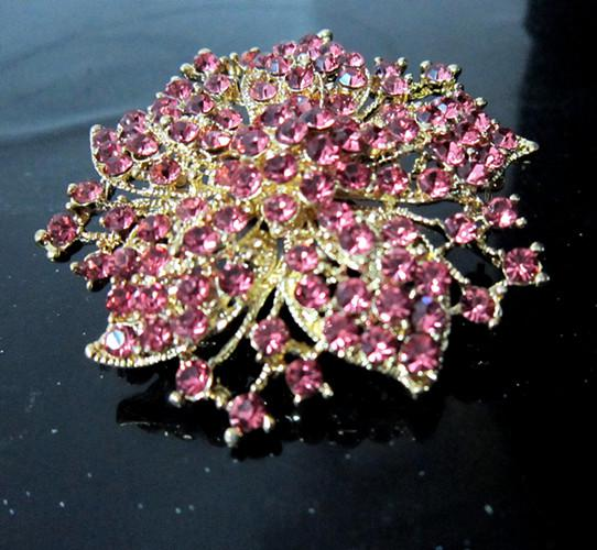 2,2 polegadas 18k banhado a ouro rosa strass cristal grande flor broche