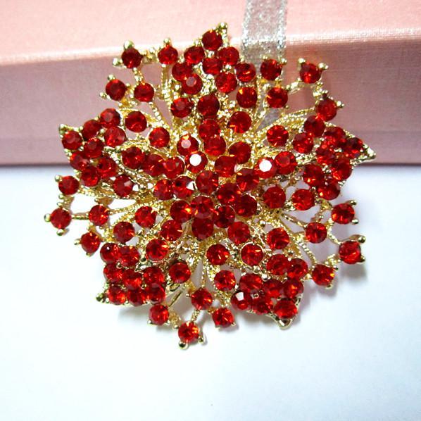 Spilla a forma di fiore in cristallo diamantato con strass rosso a 2,2 pollici