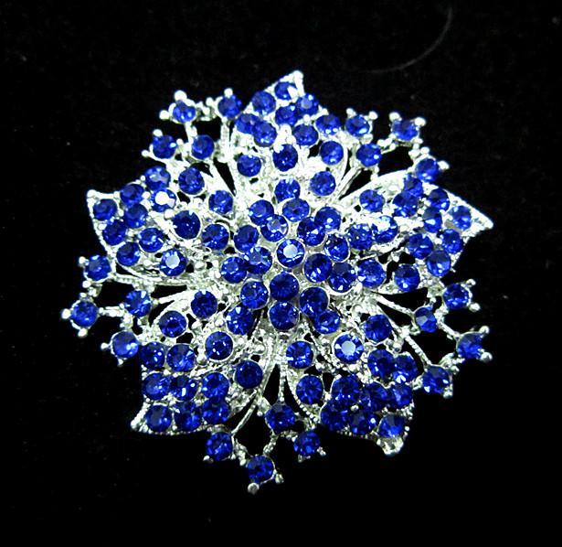 2.2 inch verzilverde koninklijke blauwe strass-kristal diamante bloem broche