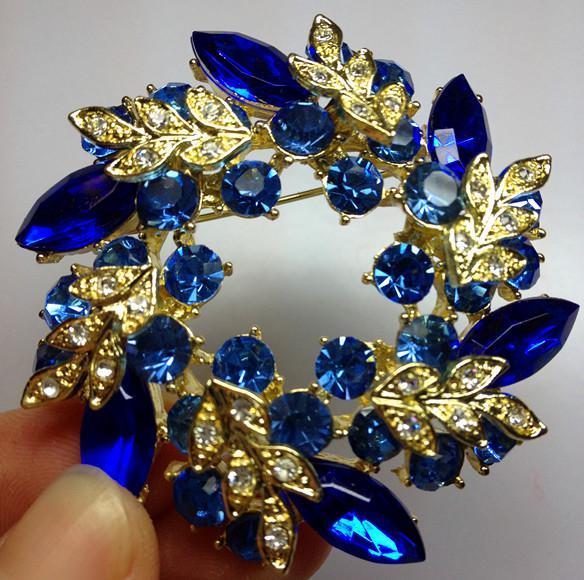 Tom de ouro azul royal strass cristal diamante coroa de flores festa de diamantes broche pin