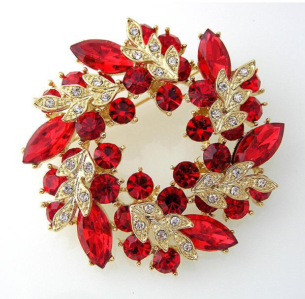 2 pulgadas chapado en oro rojo Rhinestone Crystal Wreath broche de flores